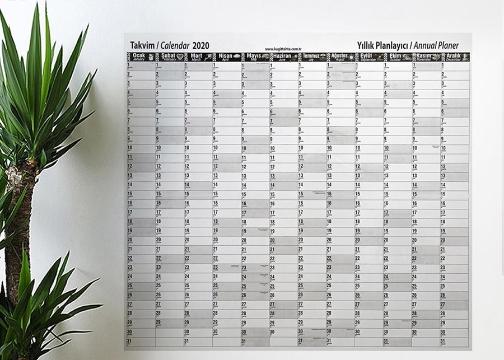 2020 Yıllık Planlayıcı Manyetik Duvar Sticker Takvim