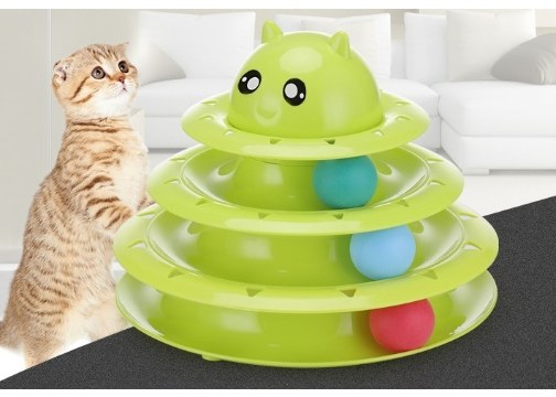3 Katlı Kedi Oyuncağı Kedi Başlıklı Yeni