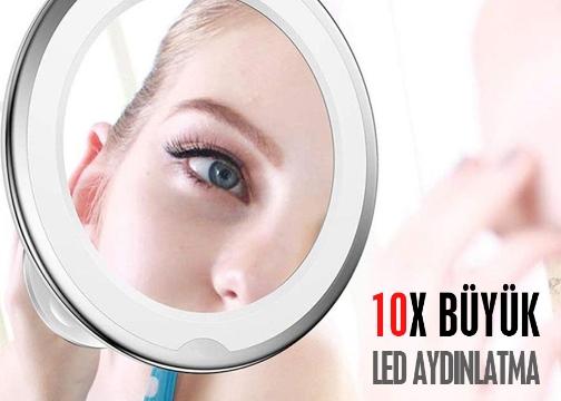 360 Derece 10 Kat Görüntü Büyüten LED Işıklı Makyaj Aynası