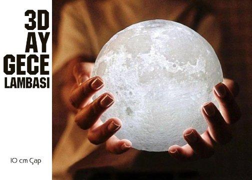 3D Ay Şeklinde Dekratif Gece Lambası: Orta Boy