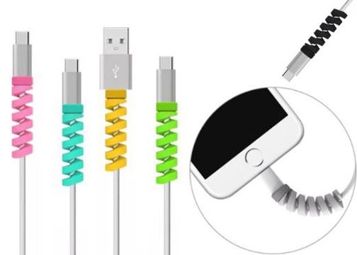 4'lü Şarj Kablosu Koruyucu Silikon Spiral Yay Aparat