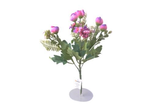 5 Dallı 28 cm Aranjmanlı Gül ve Papatya Yapay Çiçek Mor-CK012MR