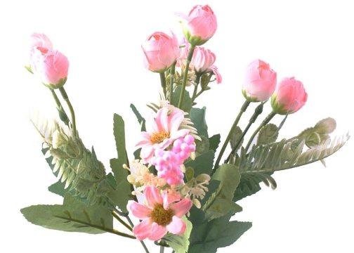 5 Dallı 28 cm Aranjmanlı Gül ve Papatya Yapay Çiçek Pembe-CK012PE