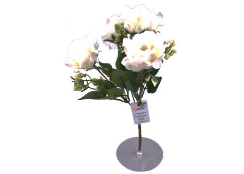 5 Dallı 28 cm Gül Yapay Çiçek Beyaz-CK010BZ