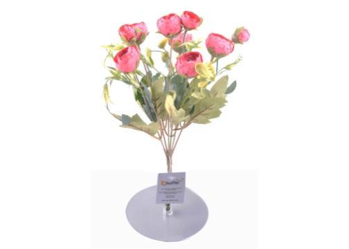 6 Dallı 28 cm Şakayık Gül Yapay Çiçek Pembe-CK011PE