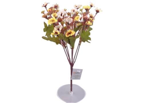 7 Dallı 33 cm Papatya Yapay Çiçek Sarı Beyaz-CK009SB