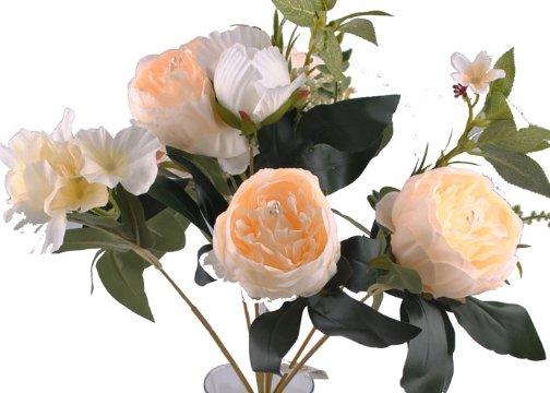9 Dallı 40 cm Gül Yapay Çiçek Beyaz-CK003BZ