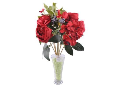 9 Dallı 40 cm Gül Yapay Çiçek Kırmızı-CK003KZ