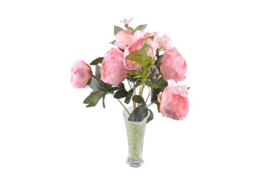 9 Dallı 40 cm Gül Yapay Çiçek Pembe-CK003PE