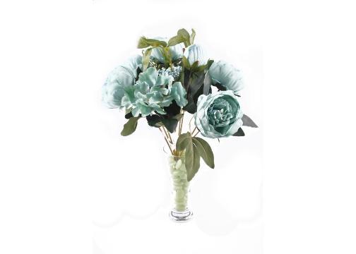 9 Dallı 40 cm Gül Yapay Çiçek Yeşil-CK003YL
