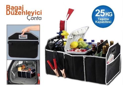 Bagaj Düzenleyici Çanta: 3 Bölmeli Katlanabilir Araç Bagaj Organizeri