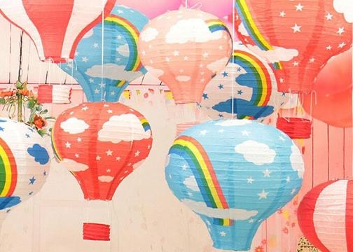 Dekoratif Renkli Kağıt Dilek Feneri Balon