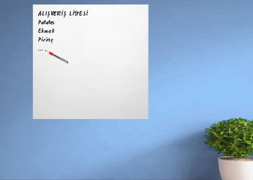Ders Çalışma Yazı Tahtası Filmi Manyetik Duvar Sticker Beyaz+Şeffaf