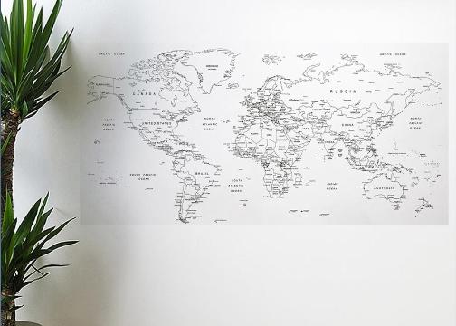 Dünya Haritası Manyetik Duvar Stickerı (110 x 56 cm)