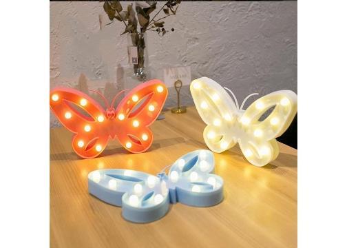 Kelebek Şeklinde Ledli Dekoratif Masa ve Duvar Lambası