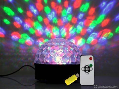 LED Disko Topu: SD Kart ve USB Girişli Disko Işıklı Hoparlör