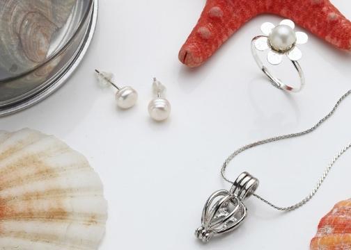 Love Pearl: İstiridye İnci Kolye Küpe Yüzük Seti