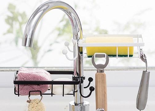 Mutfak Banyo Musluğuna Sabitlenebilir Sabun Sünger Tutucu