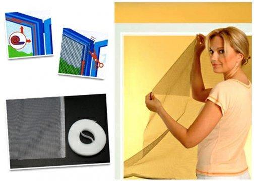 Cam Pencere Sineklik (130 cm x 150 cm) + 560 cm Cırt Bant