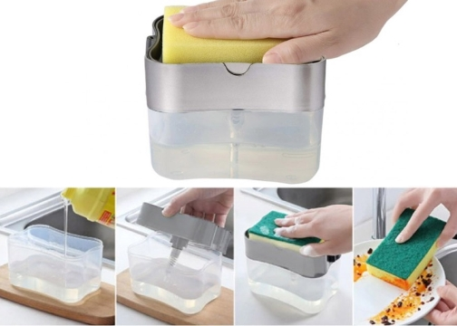 Pompalı Sünger Hazneli Sıvı Sabunluk 380 ml
