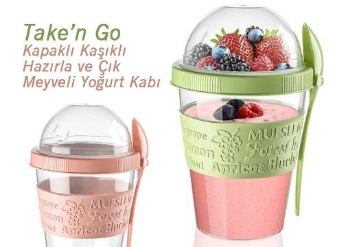 Take n Go Kapaklı Kaşıklı Hazırla ve Çık Meyveli Yoğurt Kabı