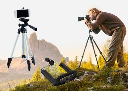 Telefon ve Kamera Tutucu Tripod: 105 cm Tripod Ayak+Telefon Tutucu