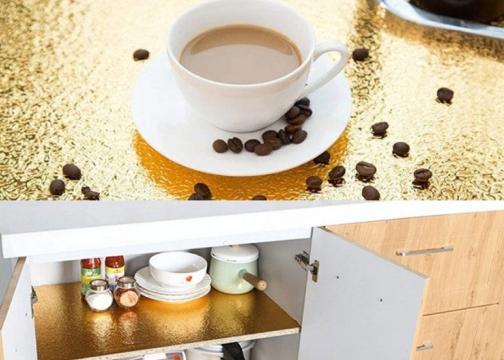 Yapışkanlı Kolay Silinebilir Mutfak Tezgah Üstü Folyo Gold