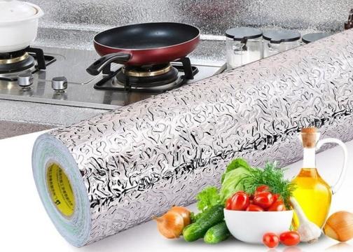 Yapışkanlı Kolay Silinebilir Mutfak Tezgah Üstü Folyo Gümüş