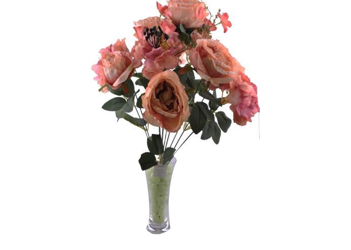 11 Dallı 50 cm Boy Damarlı Gül Yapay Çiçek Pembe-CK007PE