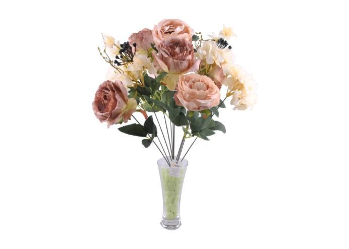 11 Dallı 50 cm Boy Damarlı Gül Yapay Çiçek Yavruağzı-CK007YA