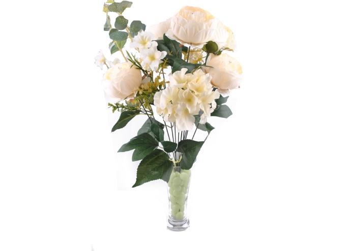 11 Dallı 50 cm Gül Demeti Yapay Çiçek Beyaz-CK004BZ