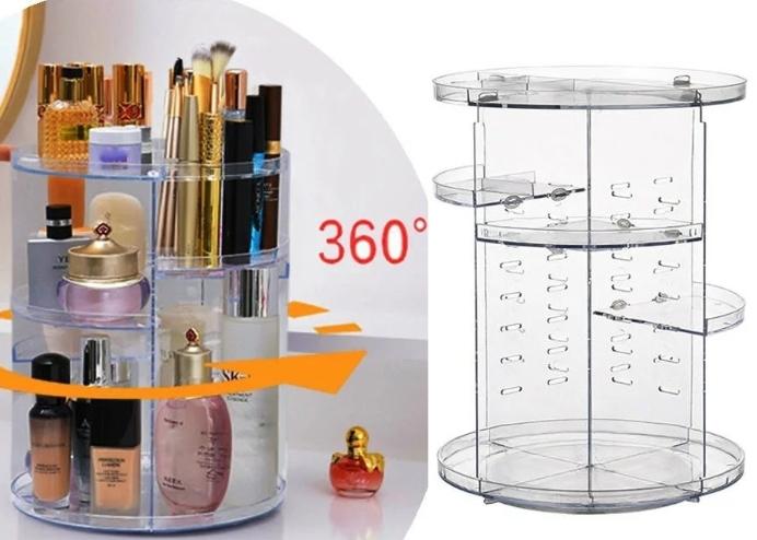 360 Derece Dönebilen Kozmetik ve Makyaj Organizeri