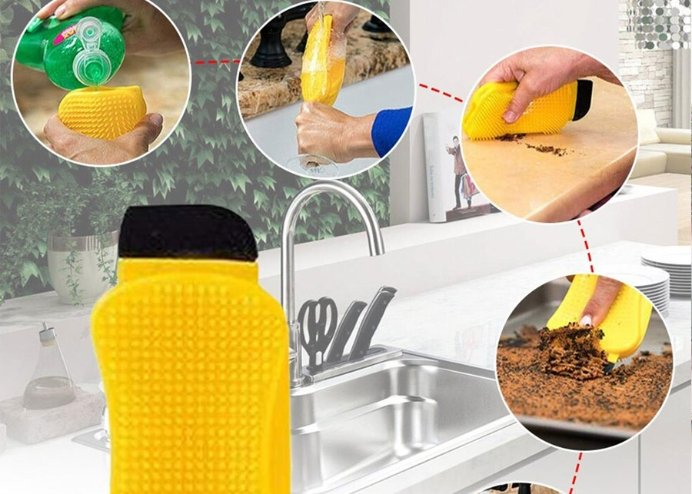 3in1 Silikon Bulaşık Fırçası (Deterjan Haznesi + Spatula + Silikon Fırça)