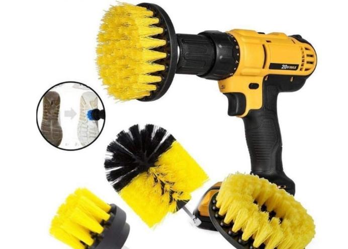 3lü Matkap Ucu: Yıkama Temizleme Fırçası Seti