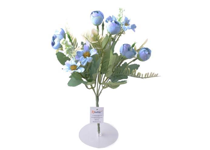 5 Dallı 28 cm Aranjmanlı Gül ve Papatya Yapay Çiçek Mavi-CK012MA