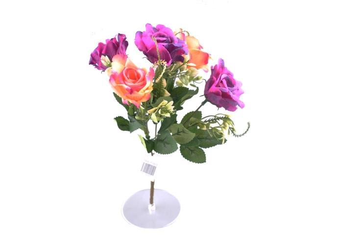 5 Dallı 28 cm Gül Yapay Çiçek Mor Krem-CK010MK