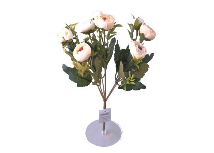 6 Dallı 28 cm Şakayık Gül Yapay Çiçek Krem-CK011KR
