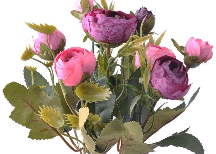 6 Dallı 28 cm Şakayık Gül Yapay Çiçek Pembe Mor-CK011PM