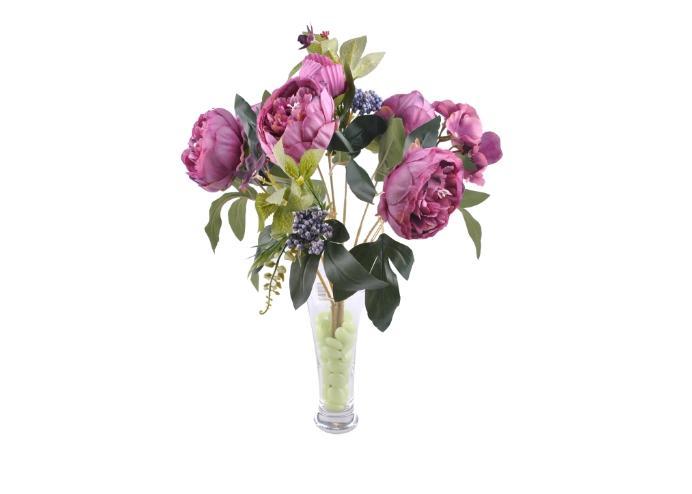 9 Dallı 40 cm Gül Yapay Çiçek Mor-CK003MR