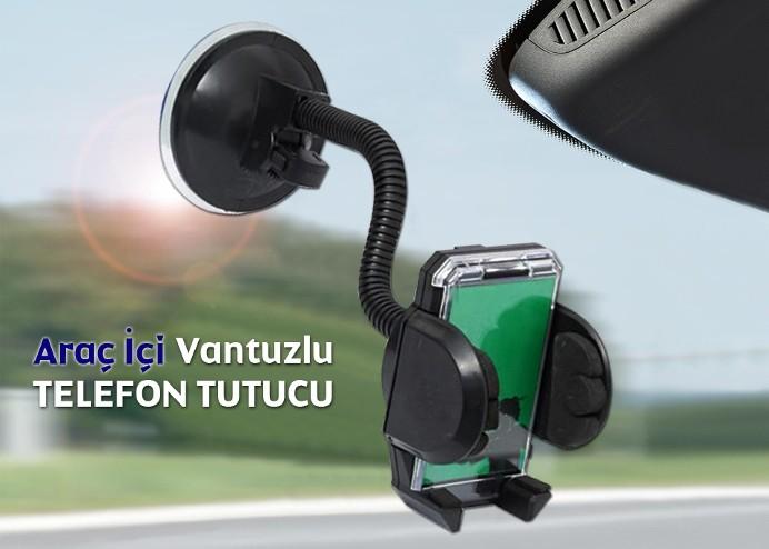 Araç İçi Telefon Tutucu: Güçlü Kilit Vantuzlu Akrobatik Gövde (Universal)