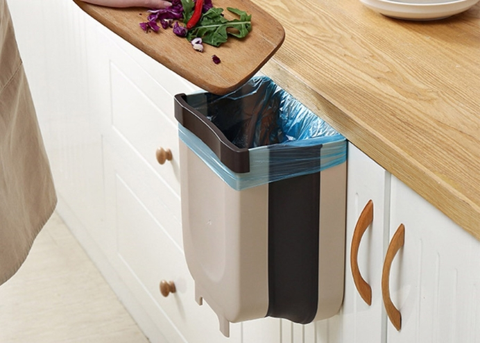 Askılı Katlanabilir Mutfak Çöp Kovası: Raylı Çöp Kovası
