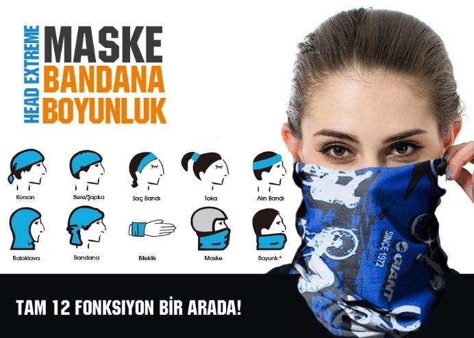 Maske Bandana Boyunluk: Head Extreme 12 Fonksiyon!