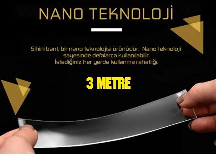 Çift Taraflı Nano Teknolojili Süper Güçlü Bant 3 Metre