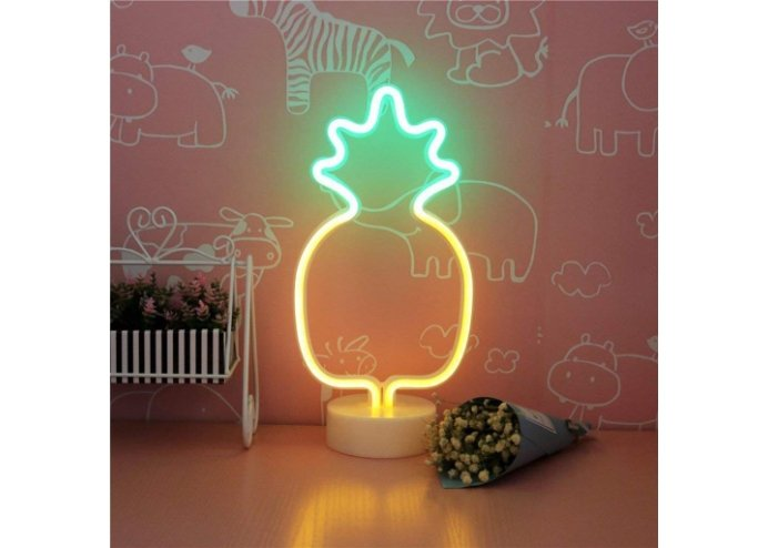 Dekoratif Ananaslı Neon Led Masa Ve Gece Lambası
