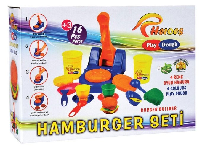 Eğitici Hamburger Oyun Hamuru Seti Hamburger 16 Parça