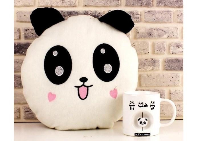 Kalpli Yanaklı Sevimli Panda Yastık
