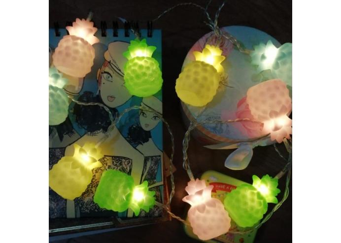 Karışık Renk Ananaslı Dolama 10'lu Led Işık Zinciri