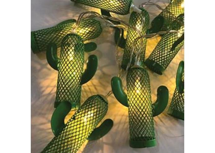 Metal Yeşil Kaktüs Günışığı Led'li Işık Zinciri