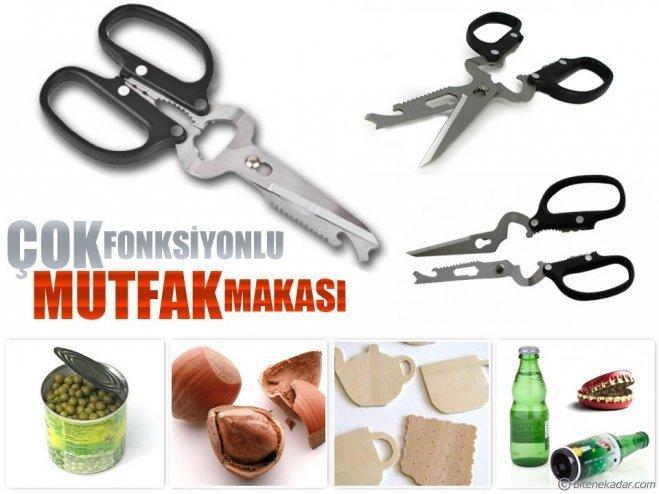Multifonksiyonel Çelik Makas (Testere + Bıçak + Fındık Kırıcı + Kapak Açıcı ...)
