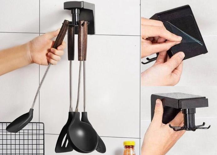 Kancalı Mutfak Banyo Askısı: 360 Derece Hareketli